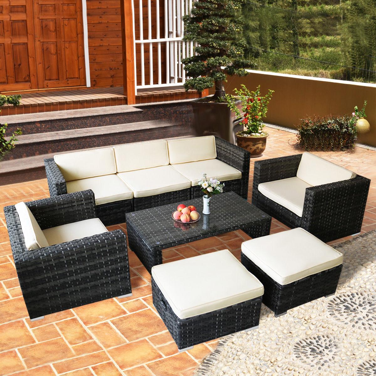rattan patio furniture costway 8 pcs rattan wicker patio furniture set sectional cushioned ottoman FUBMWSZ