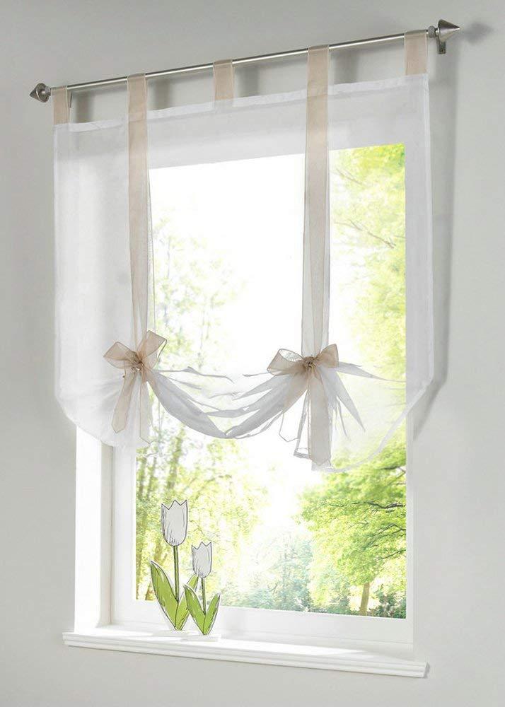 roman curtains amazon.com: uphome 1pcs cute bowknot tie-up roman curtain - tab top sheer GLBRPAW