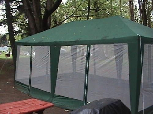 screened canopy amazon.com : deluxe party tent- 20u0027x12u0027 hunter green : sports fan canopies CSWJZDK
