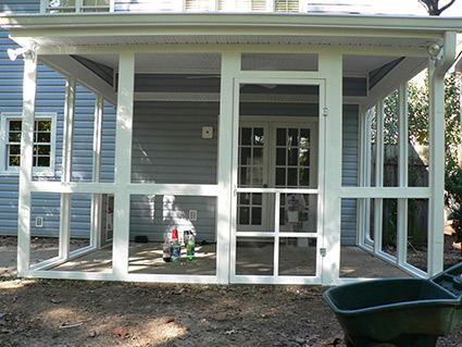 screened in porch before, exovations® screened porch project - levine home - after photo EJELFZM