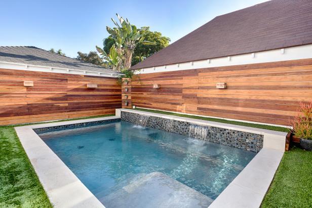 small backyard pools swimming pool with twin waterfalls CIVDWFJ