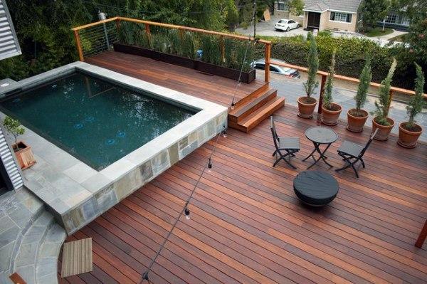 small pool cool backyard decking ideas XRZQKYT
