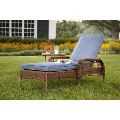 spring haven brown all-weather wicker outdoor patio chaise lounge with sky KANCLJW