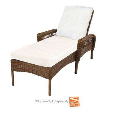 spring haven brown wicker patio chaise lounge ... NKDNFZA