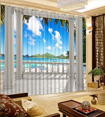 sproud 3d curtains custom curtains balcony roman column sea view beautiful ZTXOACP