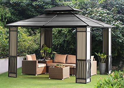 steel gazebo sunjoy 10 x 12 heavy duty galvanized steel hardtop wyndham patio gazebo LRHDUOF