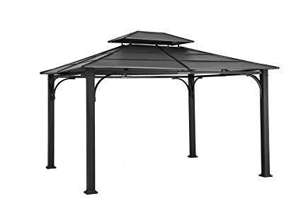 sunjoy 10u0027 x 12u0027 galvanized steel hardtop gazebo - black top OKOEIAI