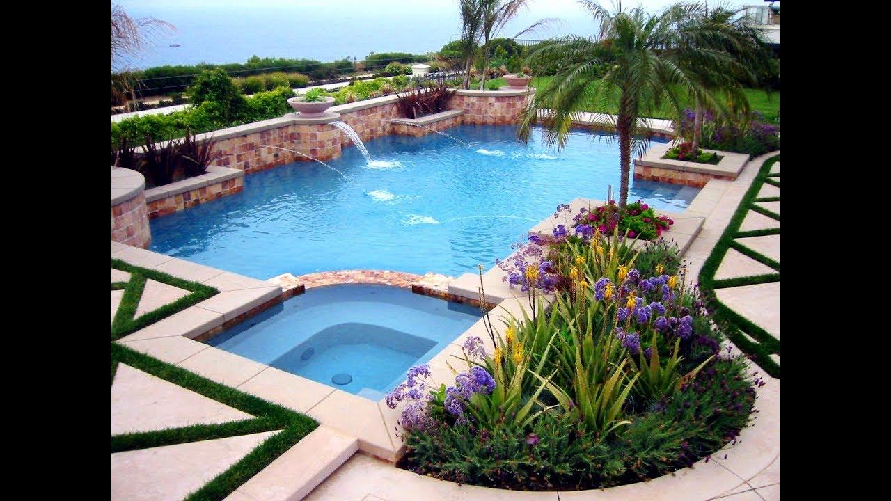 swimming pool landscaping ideas for backyard QEJQJRA