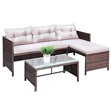 tangkula 3 pcs outdoor rattan furniture sofa set lounge chaise cushioned RCPJKAX