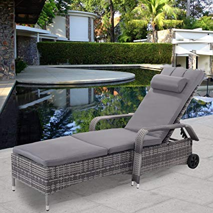 tangkula patio chaise lounge chair with armrest headrest u0026 wheels  adjustable IYWQLLM