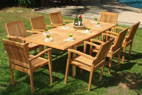 teak patio furniture 9-piece-teak-dining-set VFRHRZG