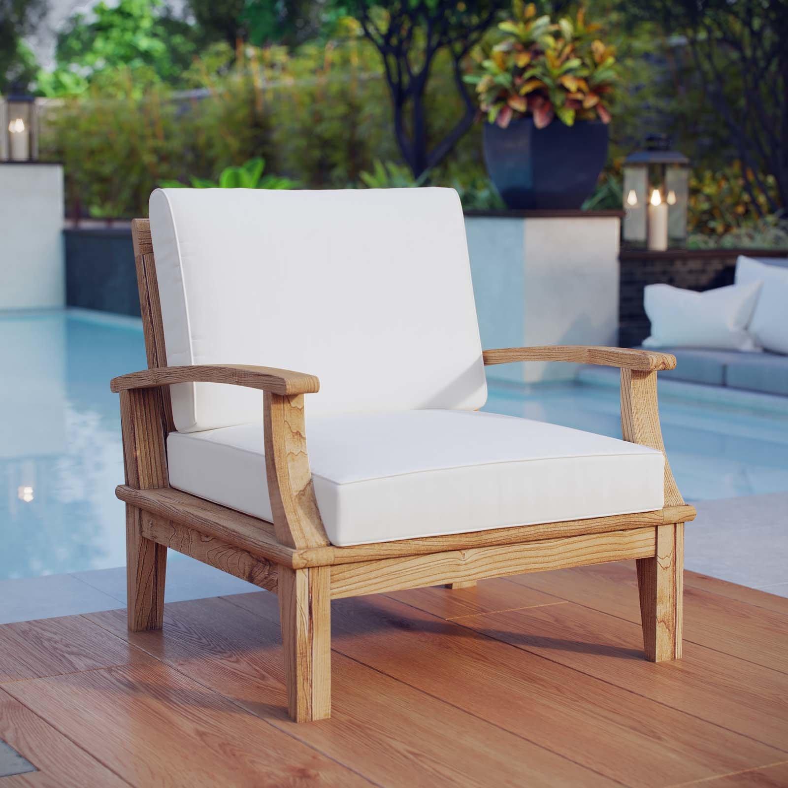 teak patio furniture beachcrest home elaina teak patio chair with cushion u0026 reviews   wayfair BCMCKDV