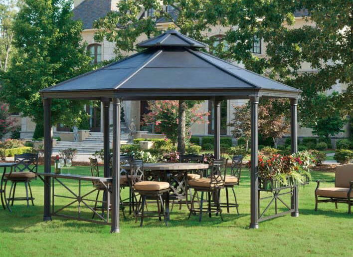 this metal gazebo houses some marvelous hard furniture and a matching PMHGQCS