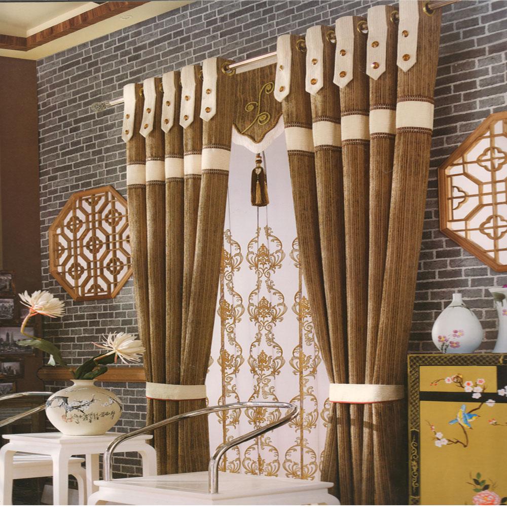vintage coffee color chenille fabric custom curtains EFFPFIW