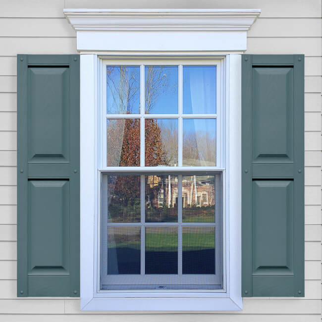 vinyl shutters window with blue vinyl raised panel shutters in vin rp layout. TQUHQDQ