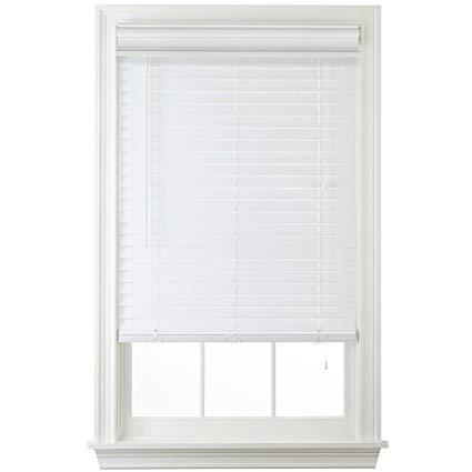 white blinds 2 faux wood horizontal blinds - white ... TFBXWEZ