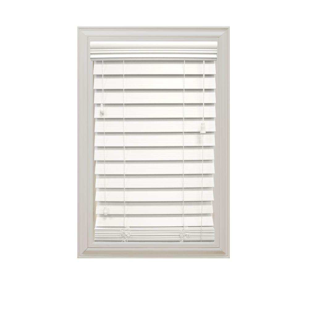 white blinds home decorators collection white 2-1/2 in. premium faux wood blind - PSUGICP
