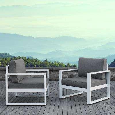white patio furniture baltic white 2 piece aluminum patio conversation set with gray cushions ZZZVAXJ