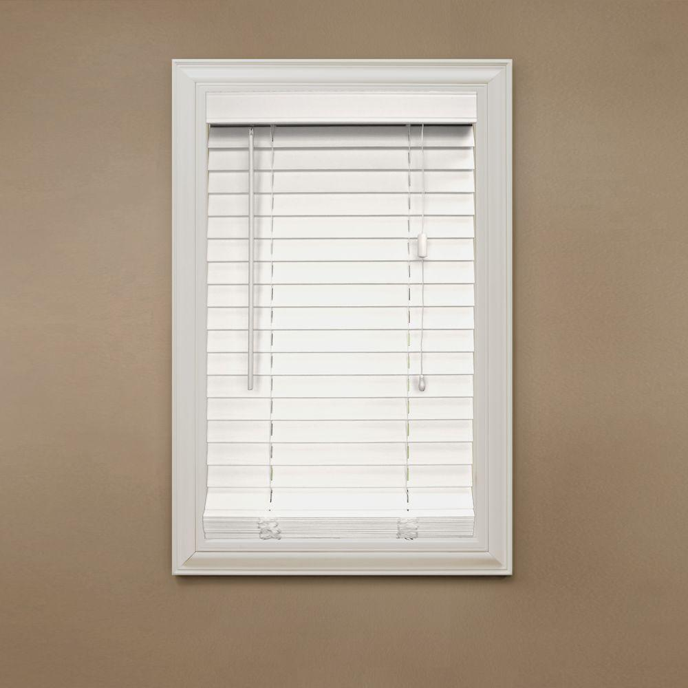 white wood blinds home decorators collection white 2 in. faux wood blind - 34 in. DUNIZAD