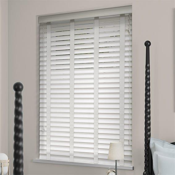 white wooden blinds soft white u0026 linen wooden blind - 50mm slat FYBQGDQ