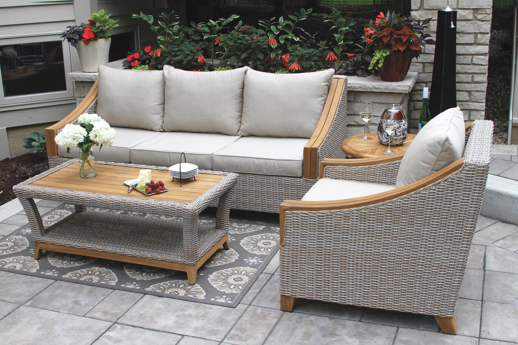 wicker furniture tna7000- wicker u0026 natural teak sofa with sunbrella cushions u0026 pillows PLUXABT