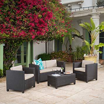 wicker patio set amazon.com: venice outdoor wicker patio furniture dark brown 4 piece sofa XIBICHB