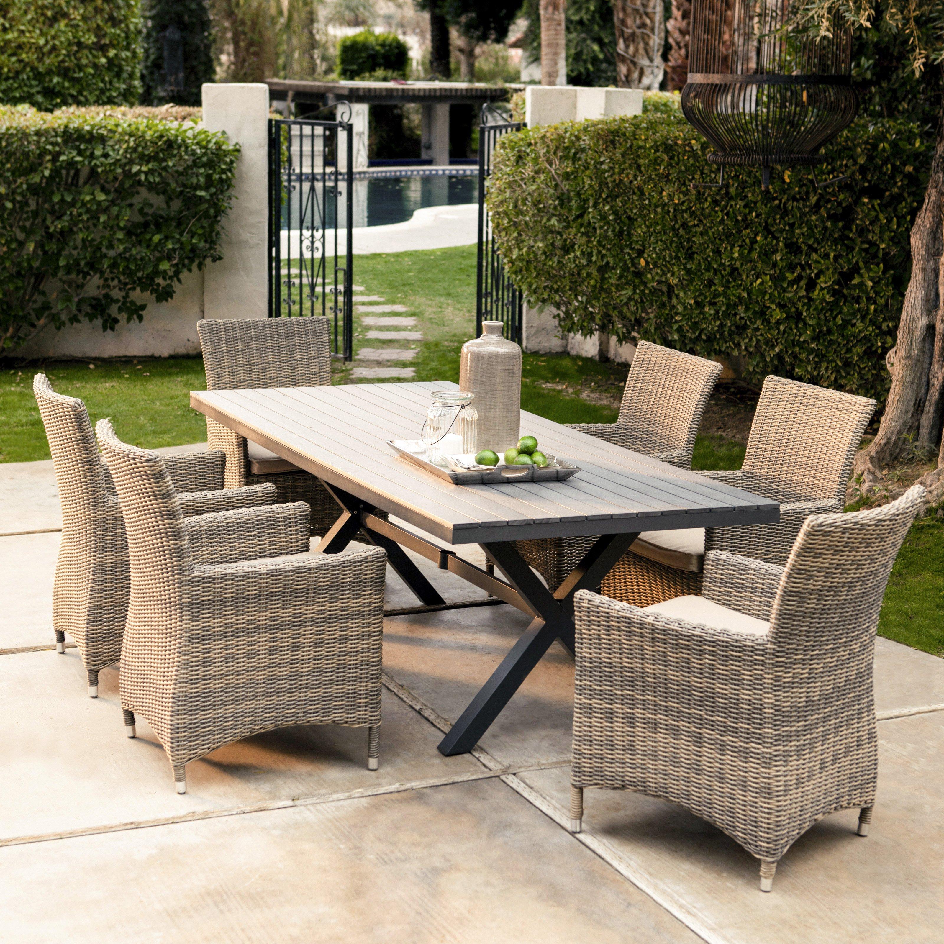 wicker patio set belham living bella all weather wicker 7 piece patio dining set - HZMQDVQ
