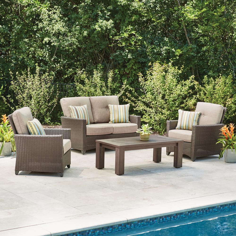 wicker patio set hampton bay tacana 4-piece wicker patio deep seating set with beige cushions VWIJDKJ