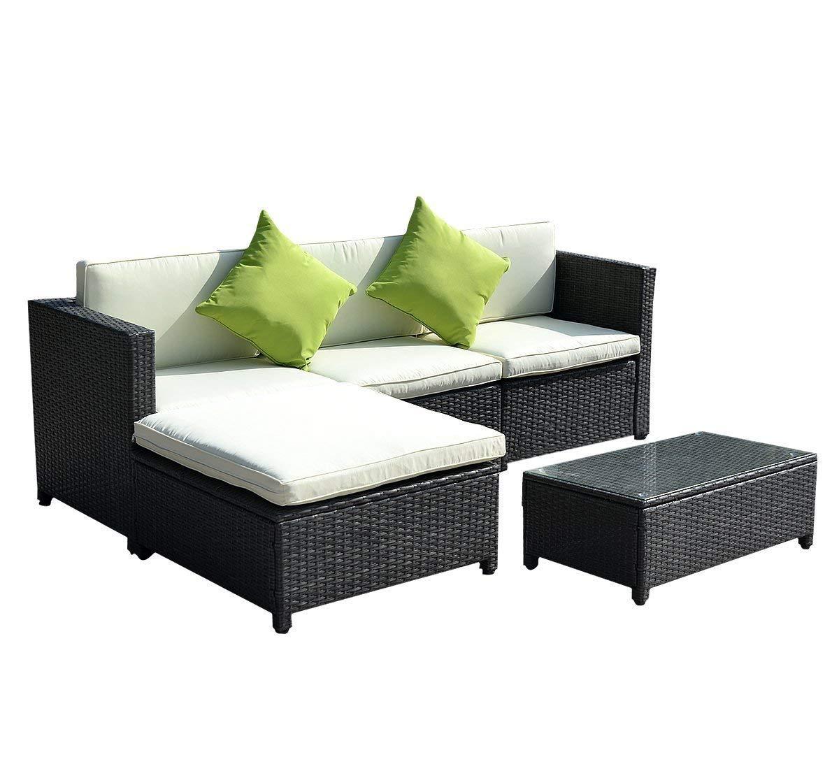 wicker sofa amazon.com: goplus® outdoor patio 5pc furniture sectional pe wicker rattan  sofa HKBNNZB