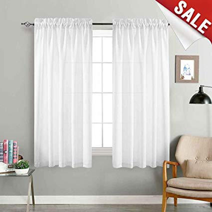 window drapes jinchan sheer white curtains for bedroom 72 inch long drapes curtain set CPJRPBY
