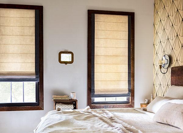 window treatment cascade roman shades | the sunbrella ventana collection | tinte | ash EIOANSO