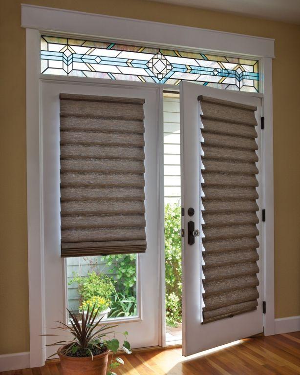 window treatments for french doors roman shade on french door with stained glass   french doors   LGBQBNT