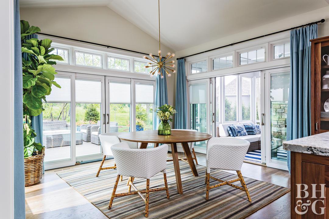 window treatments ideas kitchen with large potted plant sputnik light fixture blue curtains UODQVWY