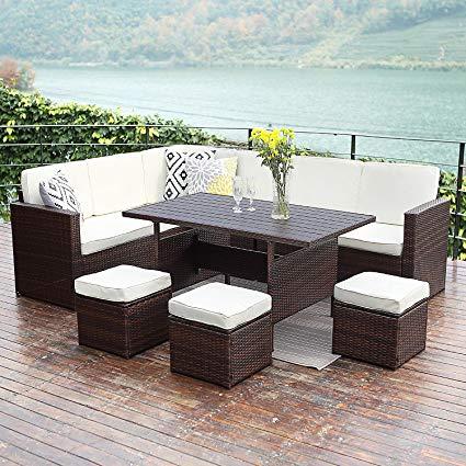 wisteria lane patio sectional furniture set,10 pcs outdoor conversation set  all ARSZUVH