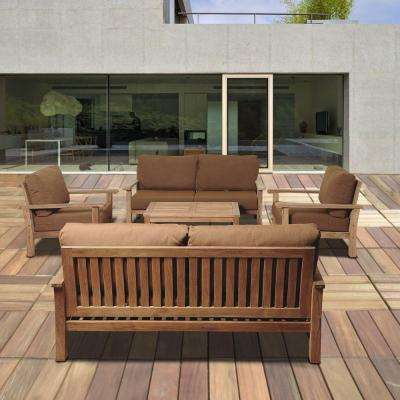 wood outdoor furniture todds 5-piece teak patio seating set with sunbrella cushions HAQMWVG