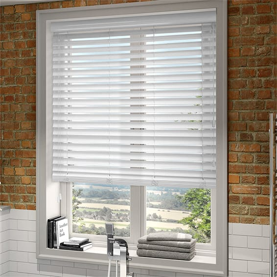 wood venetian blinds high gloss pure white faux wood blind - 50mm slat KRHCKMM