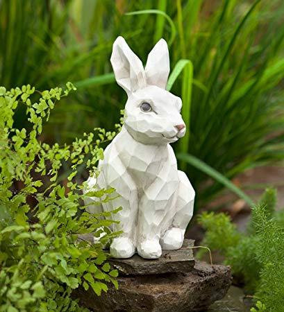 woodcut-style rabbit garden statue HRPSSVF
