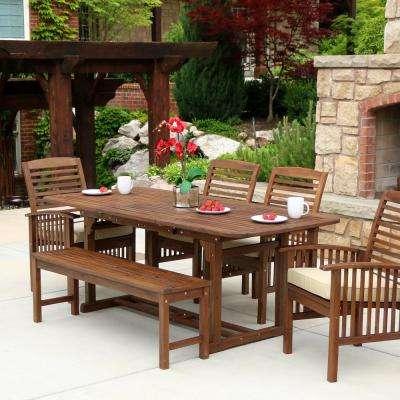 wooden garden furniture sets boardwalk 6-piece dark brown acacia outdoor dining set with cushions EYPXARB