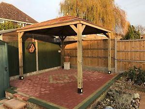 wooden gazebo image is loading 2-5m-wooden-gazebo-hottub-shelter-with-cedar- DKNGLVD