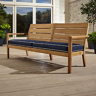 wooden patio furniture regatta natural sofa with sunbrella ® cushion UJUUVZL