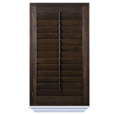 wooden window shutters installed hardwood stained shutter WRLSIUI
