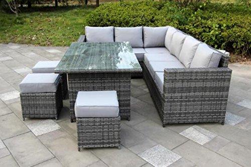 yakoe conservatory 9 seater rattan garden furniture corner dining ....  yakoe MGTBRLR