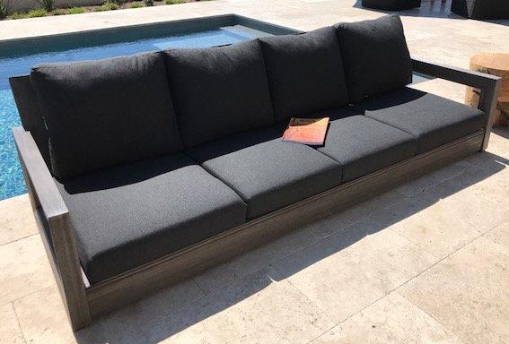 yandell teak outdoor sofa with cushions   allmodern NSPSKOO