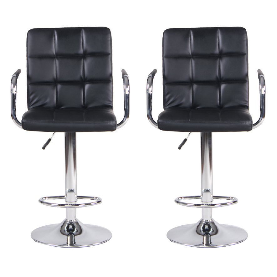 Adjustable Bar Stools with Arms and Back PU Swivel Barstool Chairs