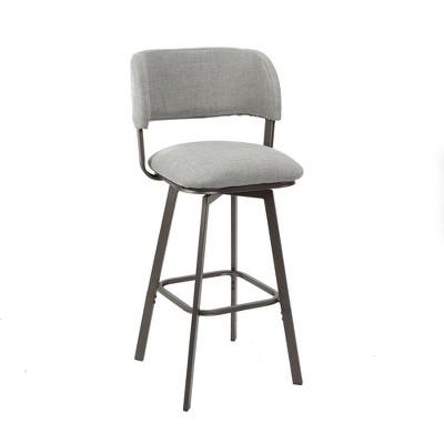 Adler Upholstered Metal Adjustable Swivel Barstool With Open Curved