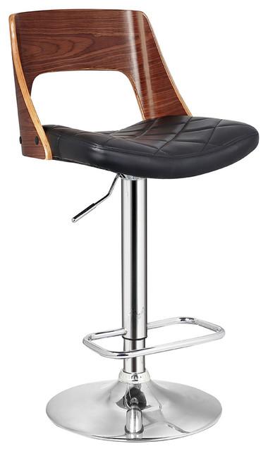 Stylish Wood Back Adjustable Swivel Barstool With Diamond Quilted
