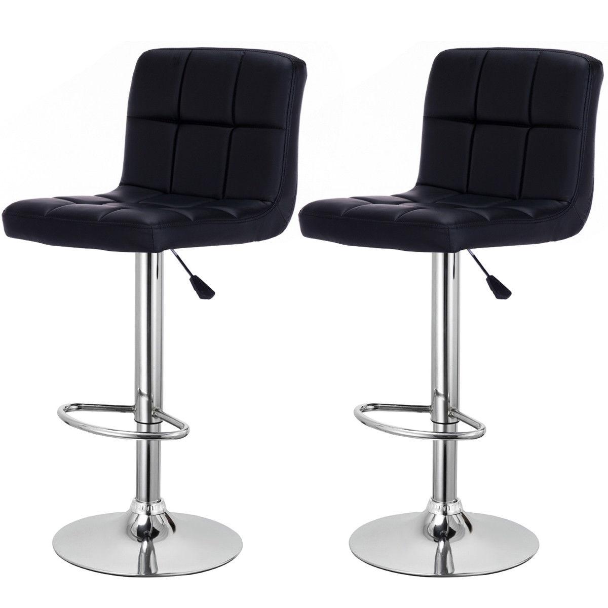Zimtown Set Of 2 Adjustable Swivel Bar Stools PU Leather Pub Chairs