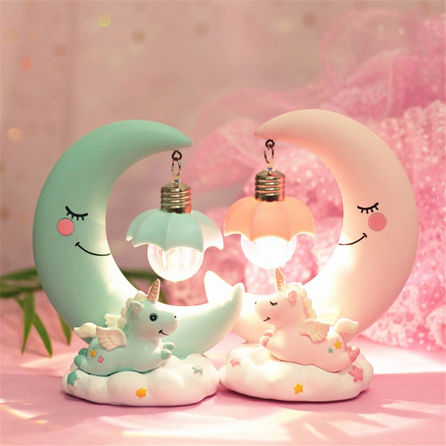 LED Night Light Moon Unicorn Resin Cartoon Nursery Lamp Bedroom Baby