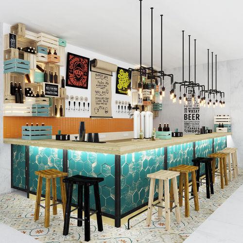 Bar counter Loft 3D   CGTrader