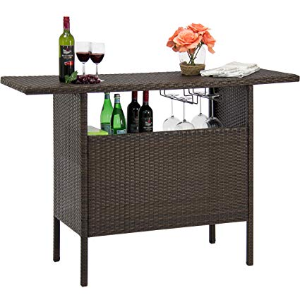 Amazon.com : Best Choice Products Outdoor Patio Wicker Bar Counter